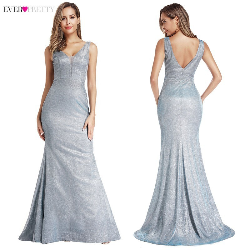 Sexy Sparkle Evening Dresses Long Ever Pretty Double V-Neck Sleeveless Elegant Mermaid Dresses With Sweep Train Robe De Soiree