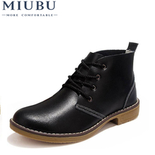 MIUBU Woman Fashion  Motorcycle Ankle Boots Genuine Leather Lace Up Vogue Casual Shoes For Vintage High Top