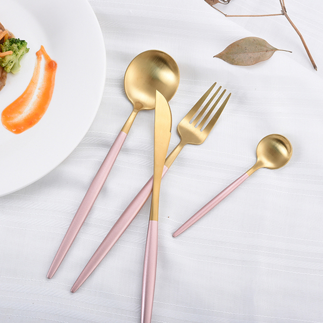 """סכו""""ם סט יפה ארוחת ערב סט 304 נירוסטה כלי אוכל אוכל מכשיר מטבח סכין מזלג כלים כלי שולחן זרוק חינם"""