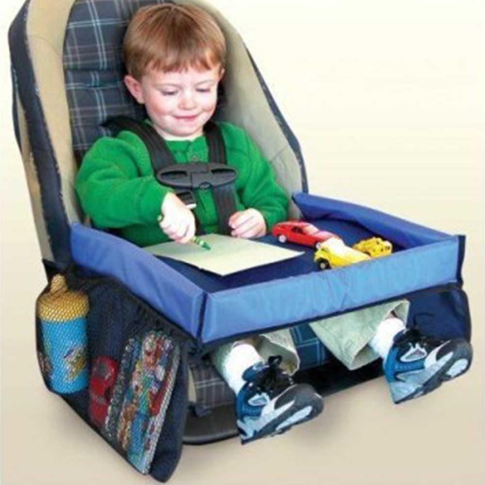 Bayi Portable Meja untuk Mobil Kursi Tinggi Wateroroof Kereta Dorong Bayi Meja Dudukan Penyimpanan Meja Makan Meja Nampan Mainan Meja