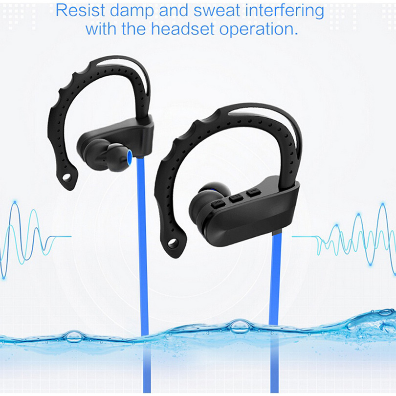 Elivebuy Ear Hook Bluetooth Wireless Sports Earphones with Mic IPX7 Waterproof Mega Bass Sweatproof Earbuds for Gym Running new fashion sweatproof wireless bluetooth v4 0 sports stereo headphones with mic ear hook earbuds earphones for iphone for sony