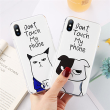 Moskado For iPhone 8 7 Plus X XR 6 6S Couples Cases XS Max 5 5S SE Funny Quotes Cute Cat Dog Phone Case Fundas