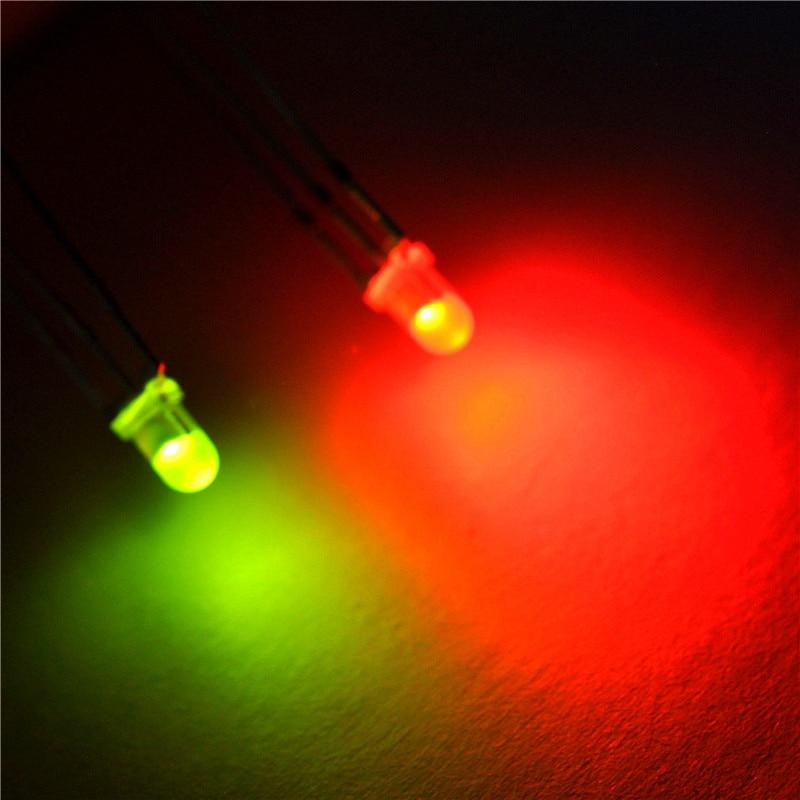 Led Diodi Emettitori Di Luce 3 Mm Rotondo Di Colore Rosso E Verde Comune Nebbia (50 Pz)