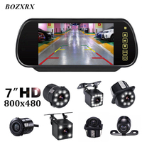 BOZXRX Car 7inch Monitor Full Touch Screen Rearview Mirror monitors with Waterproof Upgrade LED Night Vision Rear View Camera