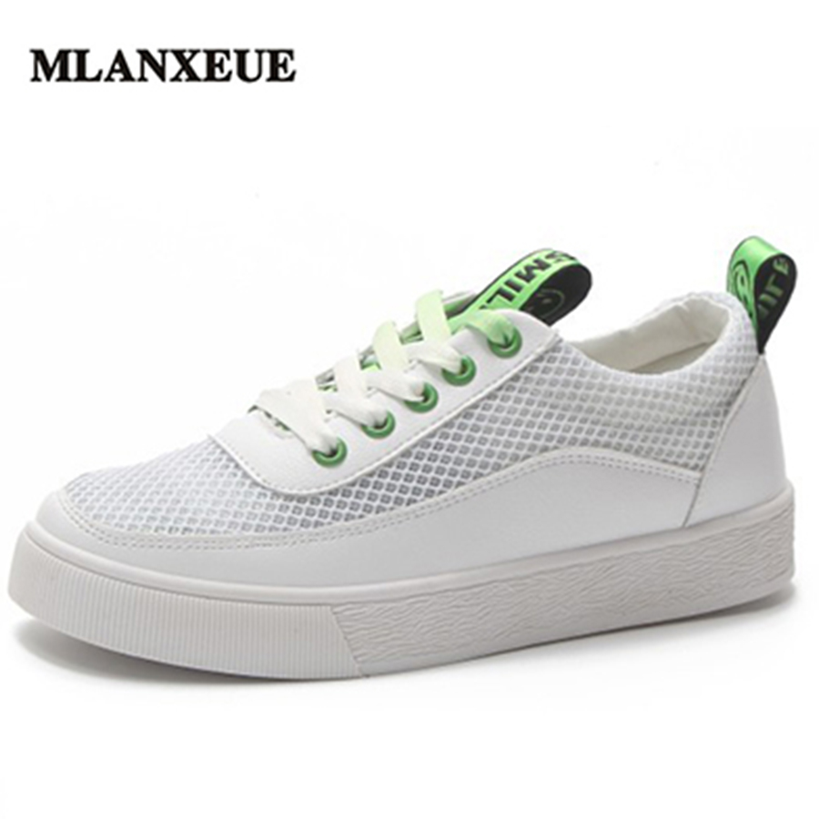 MLANXEUE Mesh Breathable Smiley Women Sneakers Thick Bottom Lace Up Soft Sole Woman Shoes Comfortable Non-slip Casual Shoes swyivy women sports shoes anti slip thick sole running shoes 2018 summer mesh breathable lace up female sneakers comfortable