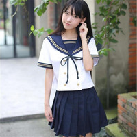 JK Moda Giapponese Sailor Uniform TOP + Skirt 2 PZ Cosplay Uniformi Scolastiche All'ingrosso OY-D1025