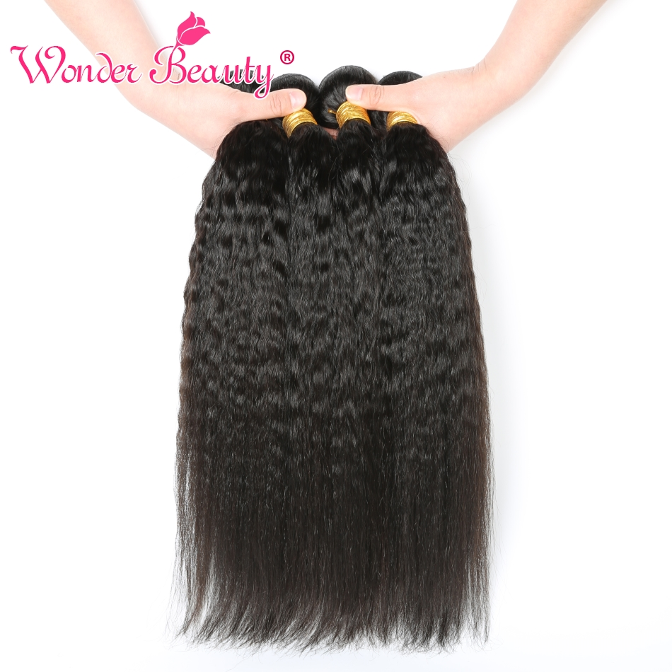 "Brazilian Hair Kinky Straight Hair Brazilian Hair Weave Bundles 1/3/4 Pieces Wonder Beauty Remy Human Hair Extension  8""-30"""