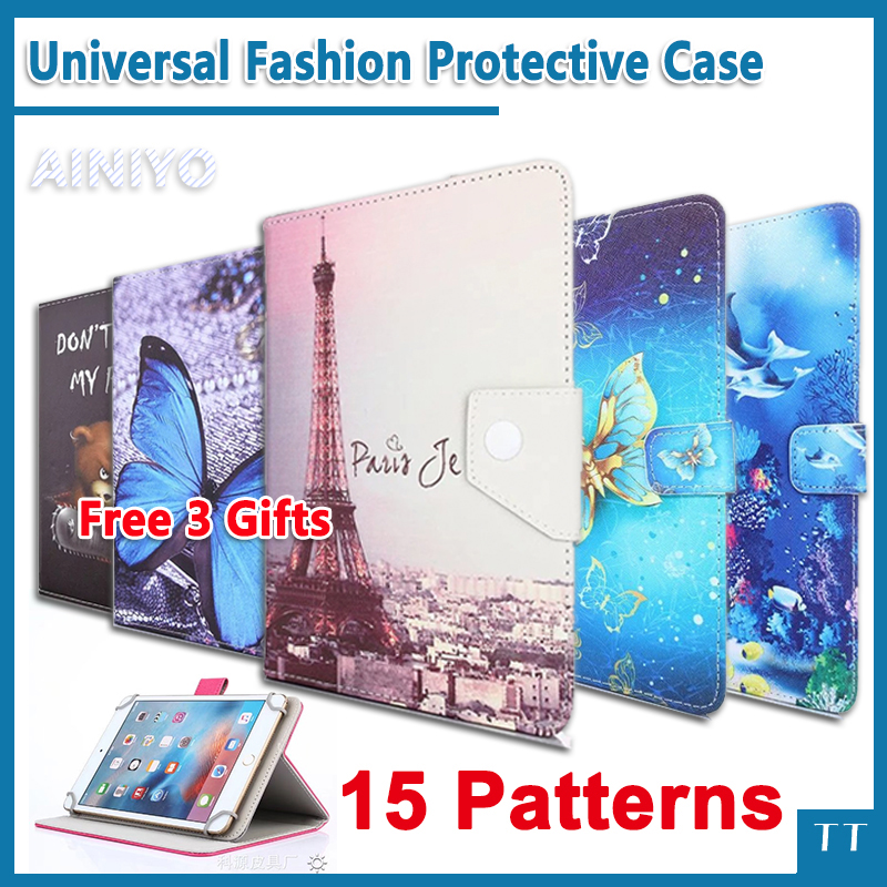 Universal case for Digma Optima Prime 3G 7 Inch Tablet Crystal Grain PU Leather Folio Protective Cover + free 3 universal 61 key bluetooth keyboard w pu leather case for 7 8 tablet pc black