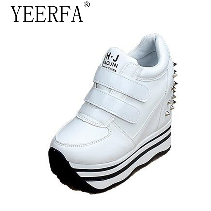 YIERFA Spring Wedges High Heels Thick Soled Ladies Casual Single Shoes Autumn Women MAGIC TAPE Platform Shoes Chaussure Femme women harajuku cartoon lace up wedges platform shoes 2015 casual shoes trifle thick soled graffiti flat shoes ladies creepers