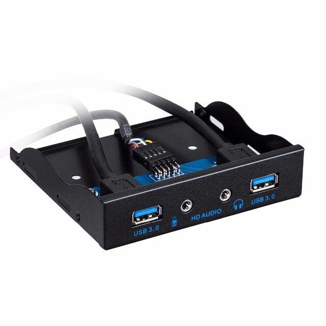 3.5 Pulgadas de Metal Panel Frontal USB Hub USB de 3.0 Puertos con 1 Puerto de Salida de Audio HD/1 Puerto de Entrada De Micrófono para escritorio