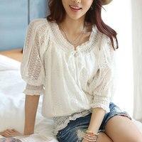 Women S Plus Size Lace Summer Blouses Half Sleeve Openwork Crochet Lace Elastic Waist Feminina