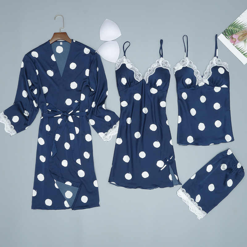 白梨花 4 PC パジャマストラップトップパンツスーツパジャマセット春のホームウェアナイトウェアセクシーな着物バスローブ