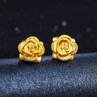 Solid 24K Yellow Gold Earrings Women Rose Flower Stud Earrings 1.36g