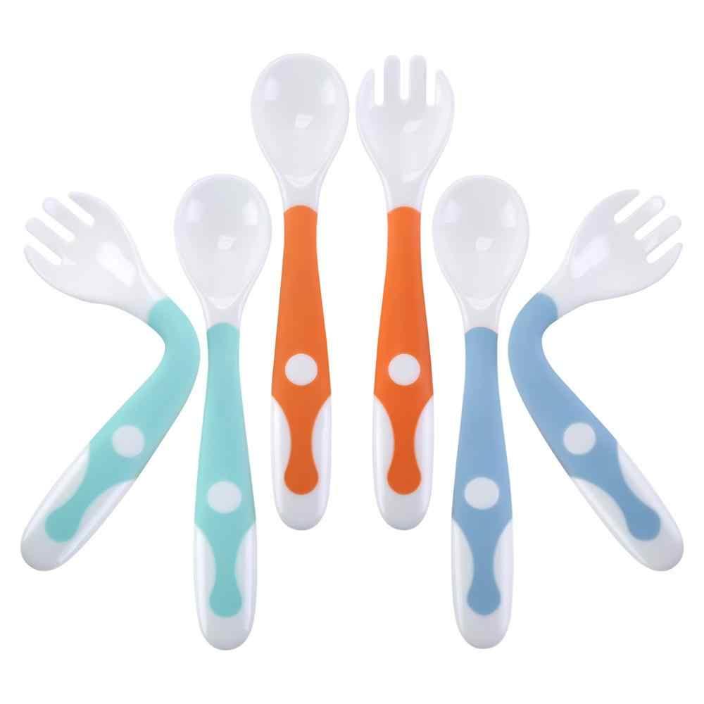 Детская посуда ложки вилки 3 наборы для ухода за кожей, Милый камень малышей Кормление тренировочная ложка и Вилы Посуда Набор легкий захват термостойкие быть