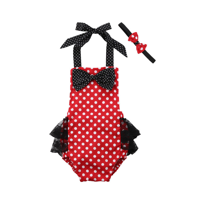 2018 Minnie Mouse Polka Dot Baby Set Newborn Infant Baby Girl Summer Romper Baby Jumpsuit Lace Outfit Sunsuit Children Clothing