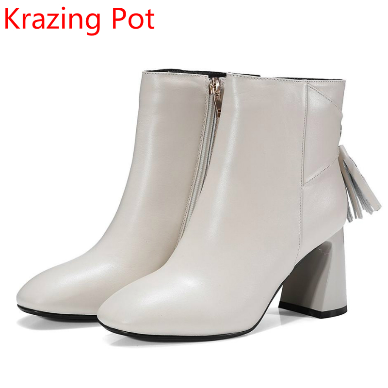 2018 New Arrival Genuine Leather Shoes Runway Handmade High Heels Tassel Fashion Winter Boots Zipper Party Women Ankle Boots L59 hot style 2017 spring new genuine leather handmade retro fashion sponge cingulate shoes high heels slope women shoes a10 15