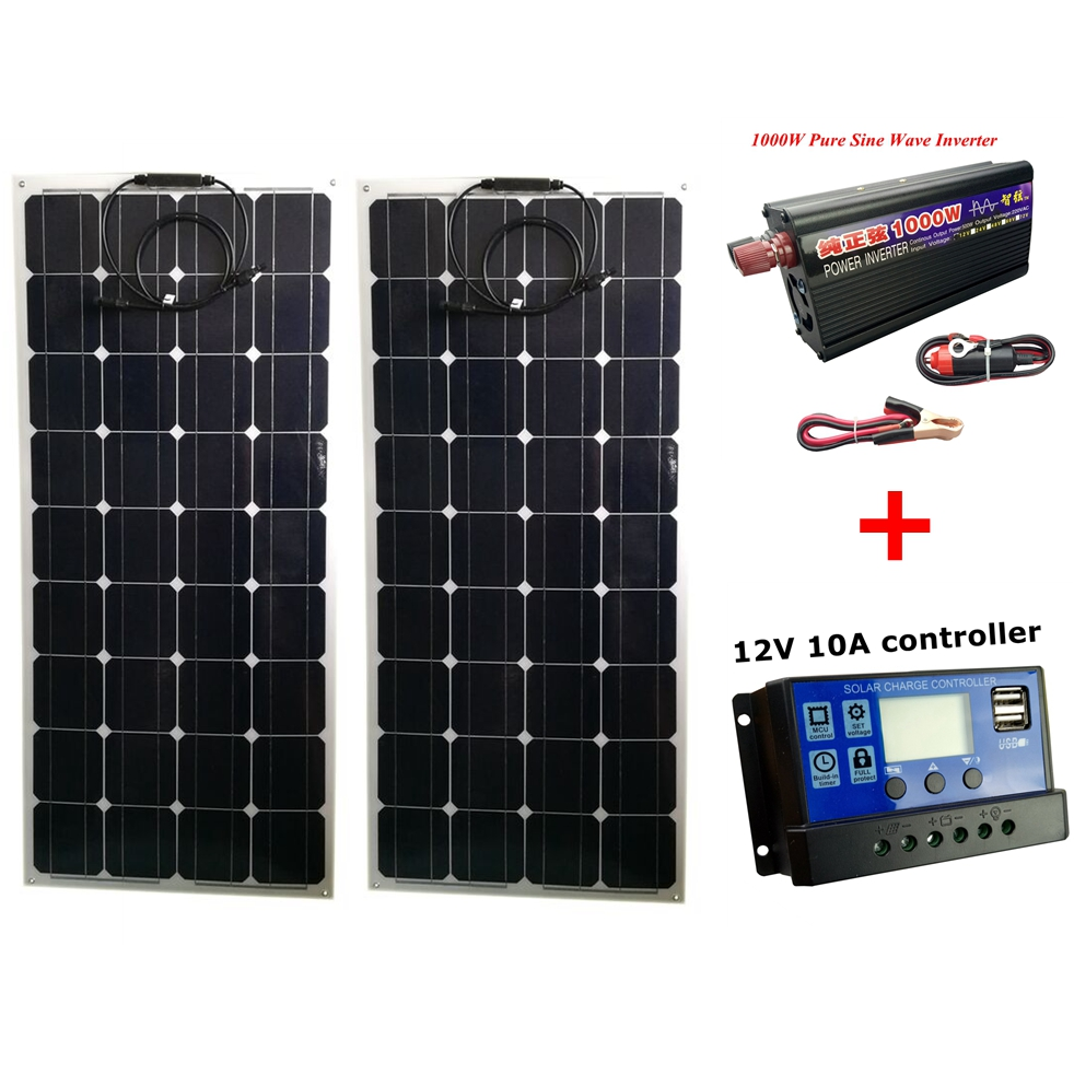 2pcs Mono 20V 100W Flexible Solar Panel with 12V/24V Controller and 1000W Pure Sine Wave Inverter For 12V Battery Solar Charger 2pcs 4pcs mono 20v 100w flexible solar panel modules for fishing boat car rv 12v battery solar charger 36 solar cells 100w