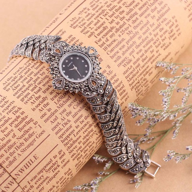 100% 925 Sterling Silver Watch Lady Women Thail Silver Wristwatch Quartz Bracelet Watch Silver Watch Woman