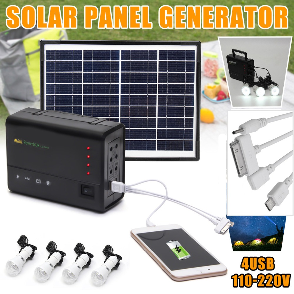 Portable Solar Panels Charging Generator Power System Home Outdoor Lighting for LED Bulb Solar Generators