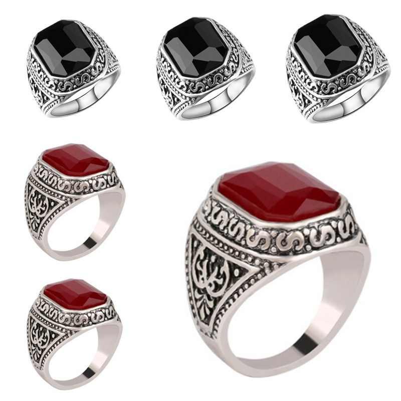ใหม่แฟชั่นผู้ชายผู้หญิง Retro แหวนนิ้วมือแหวนเคลือบสแควร์เครื่องประดับ Fine ของขวัญเพื่อนและคู่