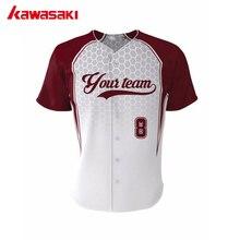 Кавасаки на заказ Полная пуговица тренировочная бейсбольная Джерси веера из полиэстера тренировочная софтбольная трикотажная рубашка размера плюс XS-4XL
