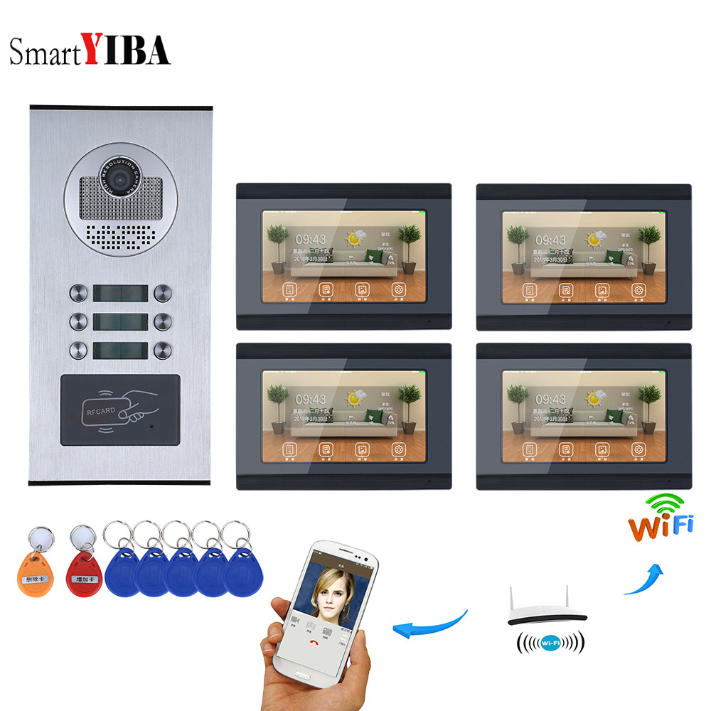 SmartYIBA APP Control Video Intercom 7 Inch Wifi Wireless Video Door Phone Doorbell Camera Video Recording For 4 Units Apartment yobangsecurity 6 units apartment 7 inch monitor wifi wireless video door phone doorbell intercom camera kit video recording app