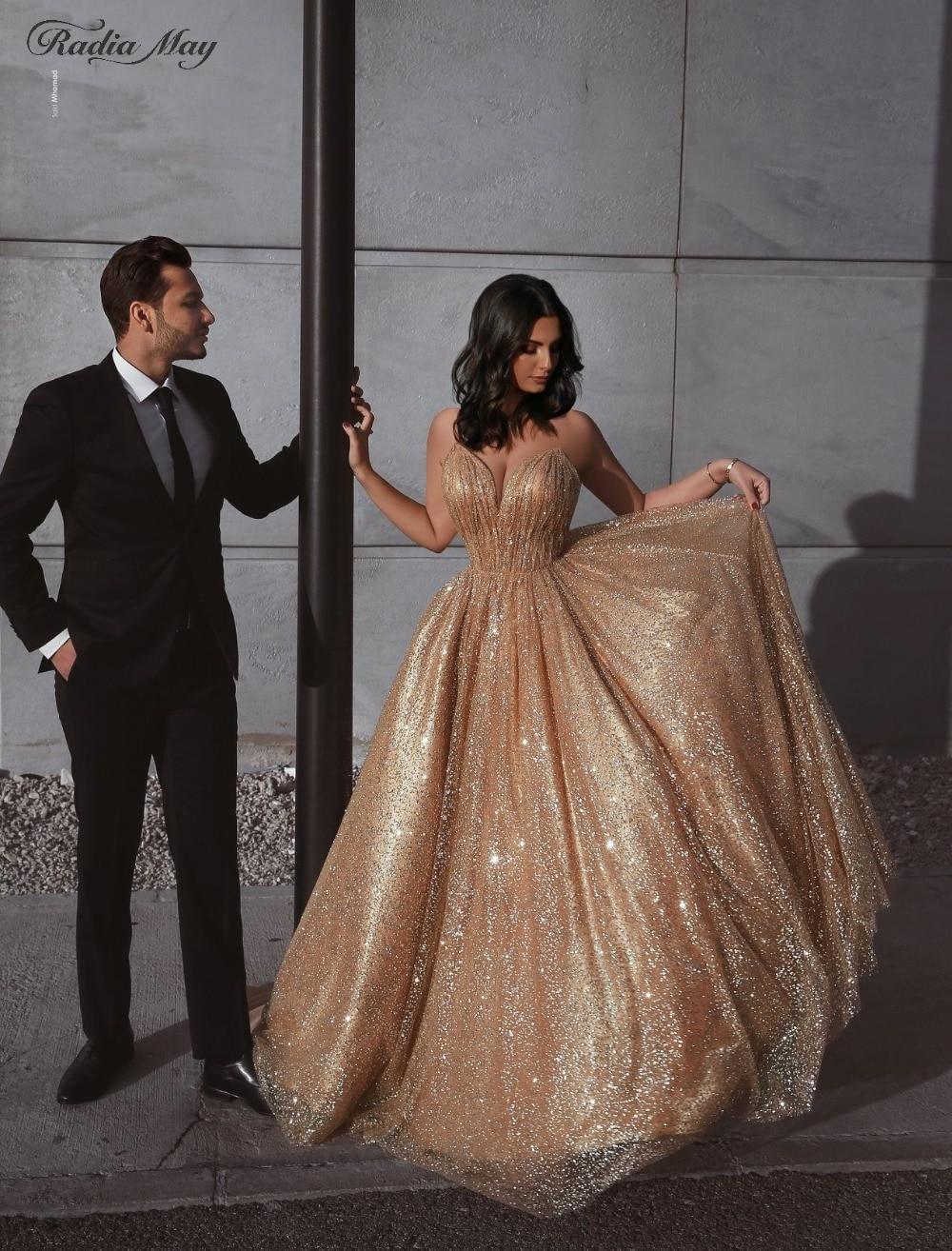 Glitter Sequin Rose Gold Arabic Evening Dress Sexy Spaghetti Strap V Neck Backless Long Dubai Prom