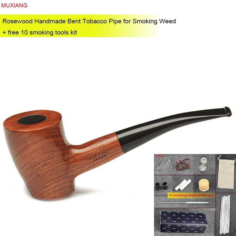 MUXIANG 무료 10 도구 키트 수입 kevazingo 나무 담배 파이프 수제 담배 파이프 구부러진 담배 알몸 파이프 중국 ad0025