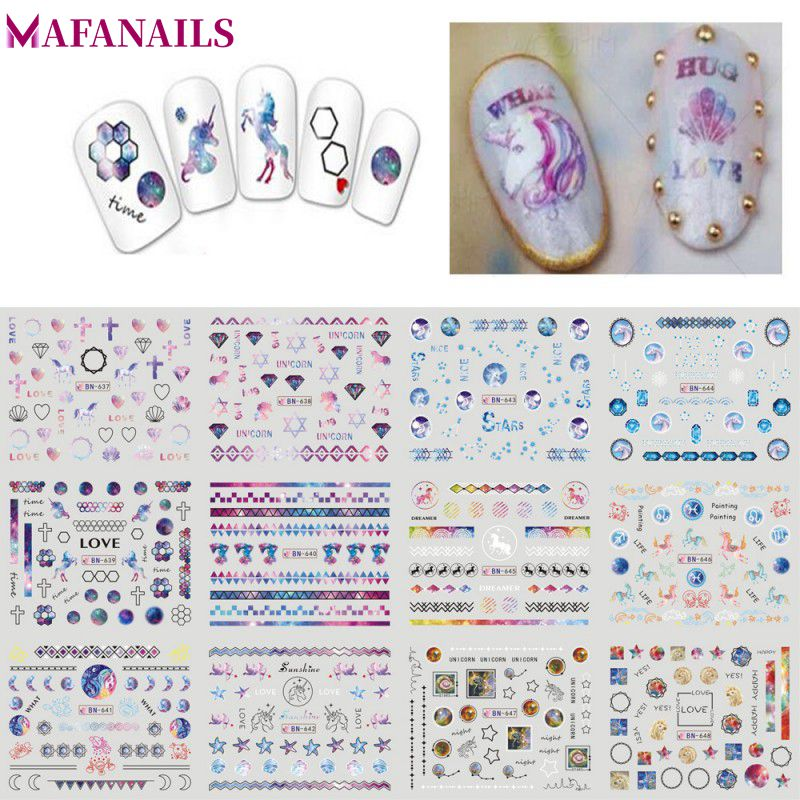 Sale! 12Pcs/Lot Nail Art Water Decals Love/Star Pattern Nail Tips Water Transfer Decal Sticker DIY Nail Art Decoration BN637-648