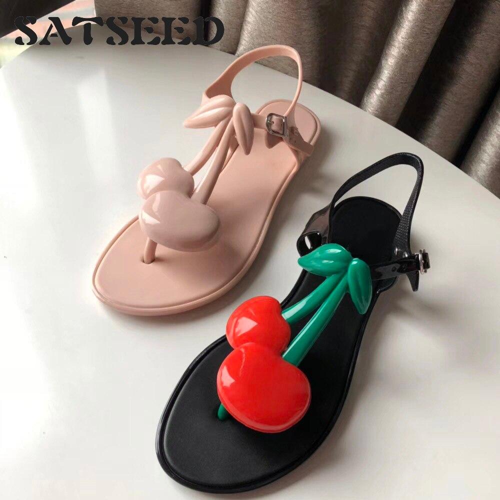 2019 New Cherry Jelly Sandals Thong Foot Open Toe Beach Shoe Girl