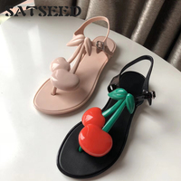 671019e45 2019 New Cherry Jelly Sandals Thong Foot Open Toe Beach Shoe Girl
