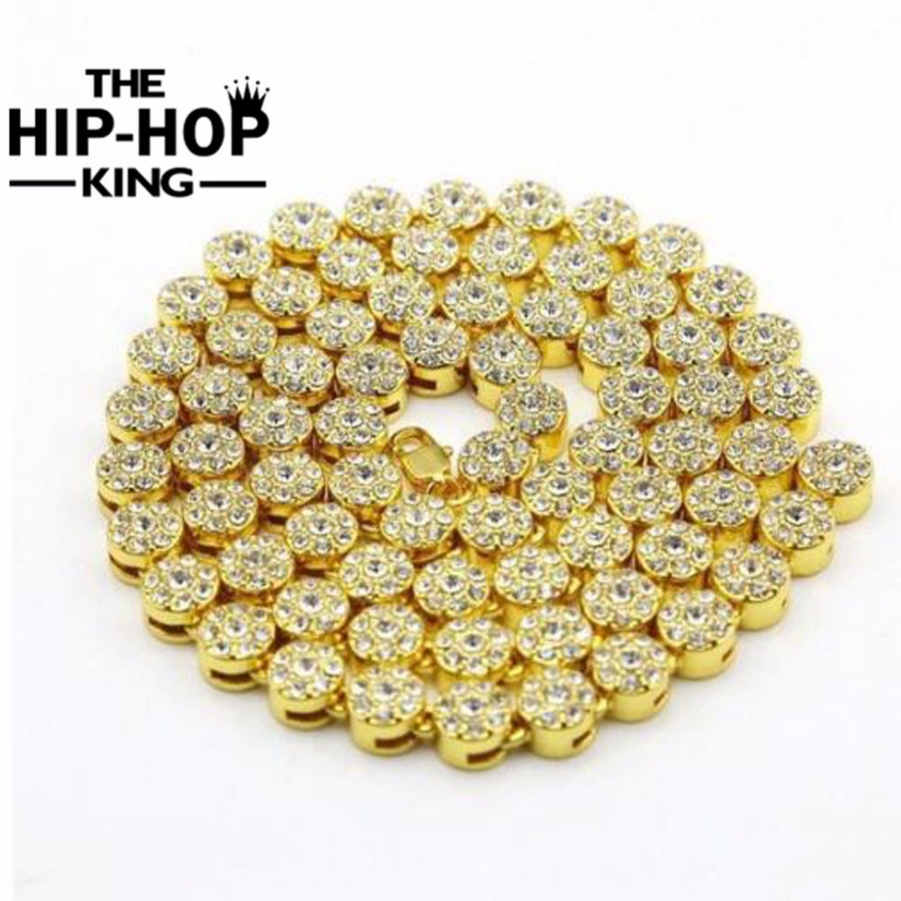 MEN S 1 ROW Cluster Chain ICED OUT YELLOW GOLD Color HIP HOP BLING CZ MEN