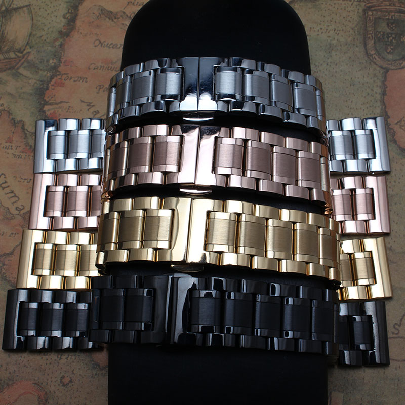 2017 New Fashion 14 15 16 17mm 18mm 19mm 20mm 21mm 22mm Stainless Steel Solid Links Watch Band Strap Bracelets Straight End Band new fashion curved ends 14mm 15 16mm 17mm 18mm 19mm 20mm 21mm 22mm 23mm stainless steel watch bands straps bracelets promotion