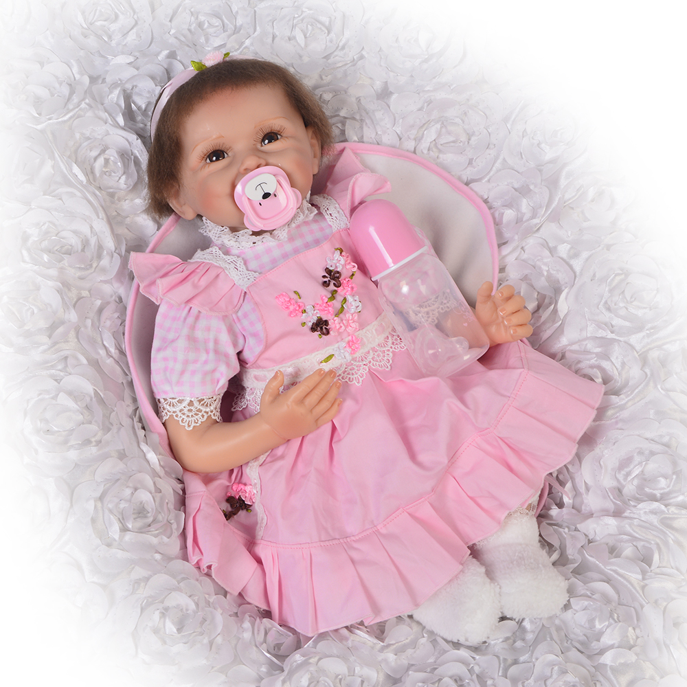 Wholesale 22 Inch Reborn Baby Doll Soft Silicone 55CM Princess Babies Girl Doll Lifelike Handmade Newborn Toy Kids Birthday Gift safurance led rotating flashing amber beacon flexible tractor warning light 12v 24v roadway safety
