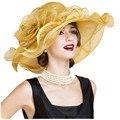 2016 verano aristócrata Británico elegante sombreros de Exportación grande señora sombrero nuevo partido mujer sombreros de lino lightsome casual floral sol tapas