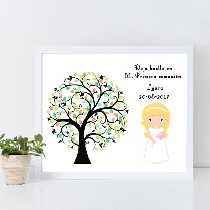Little Angel, Free Custom Mi Primera Comunion Fingerprint Souvenir, My First Holy Communion Guestbook Signature Sign Book