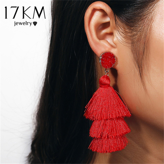 17KM Boho Druzy Tassel Earrings Female Long Drop Dangle Earring For Women Girl R