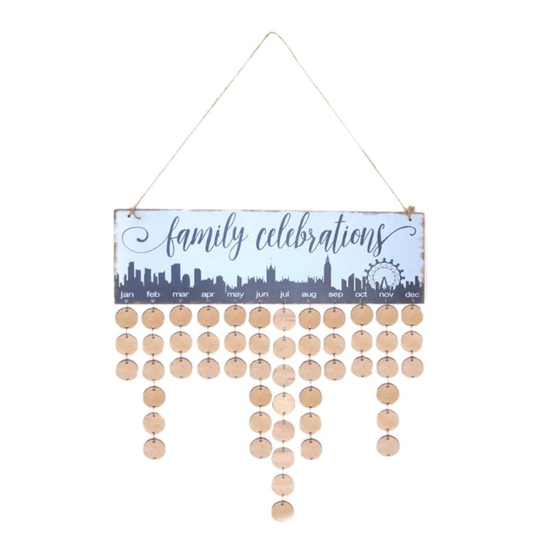 Birthdays Days DIY Wooden Hanging Calendar Board Family Friends Dates Sign Planner Mark Decor Gift for Friends Birthday Reminder diy fashion wooden birthday calendar family friends sign special dates planner board hanging decor gift decorate your home