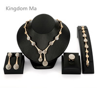 Kingdom Ma African Beads Pearl High quality Water Drop Jewelry Set Wedding Bridal Crystal Gold Color Statement Jewellery Costume