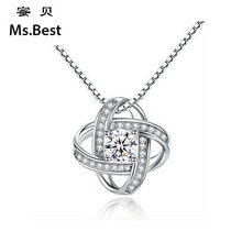 Фотография Solid S925 Sterling silver women clover flower pendant necklace leaf white crystal cz wedding statement necklace mother day gift