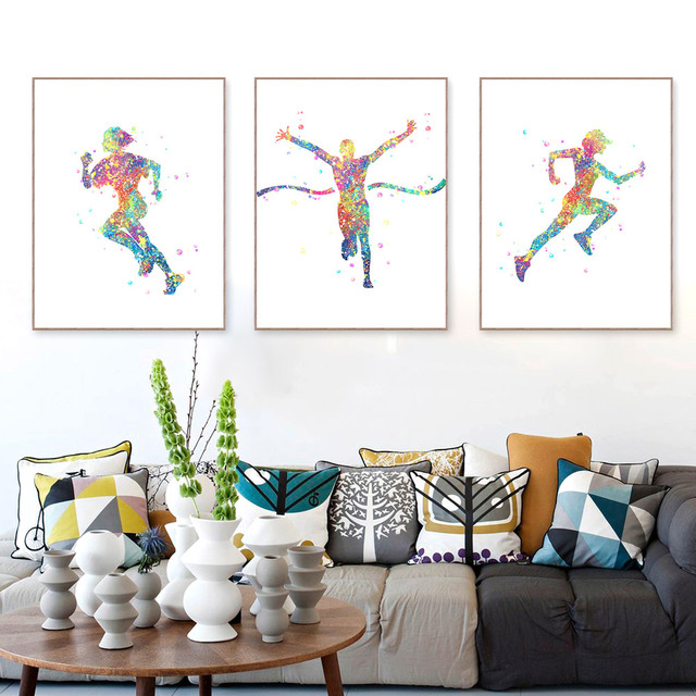 Watercolor Running Poster Abstract Sport Man Wall Picture Canvas Painting Living Room Home Decor Gift No Frame