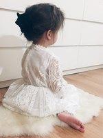 Çocuklar kız elbiseler 2016 Yaz Sonbahar yeni modeller Prenses dantel Mizaç kız elbise Kore kaliteli sevimli bebek kız giysileri