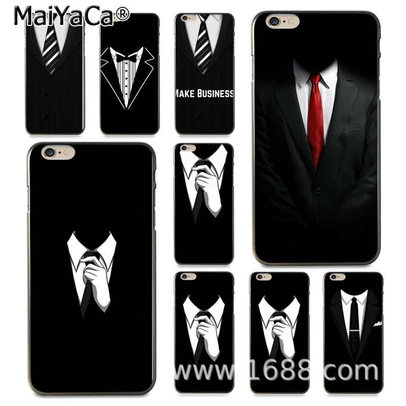 MaiYaCa 男スーツシャツネクタイラインホット販売ファッション iphone 4 の 4s 用 8 7 6 6 S プラス × 10 5 5 S 、 SE 5C Coque シェル
