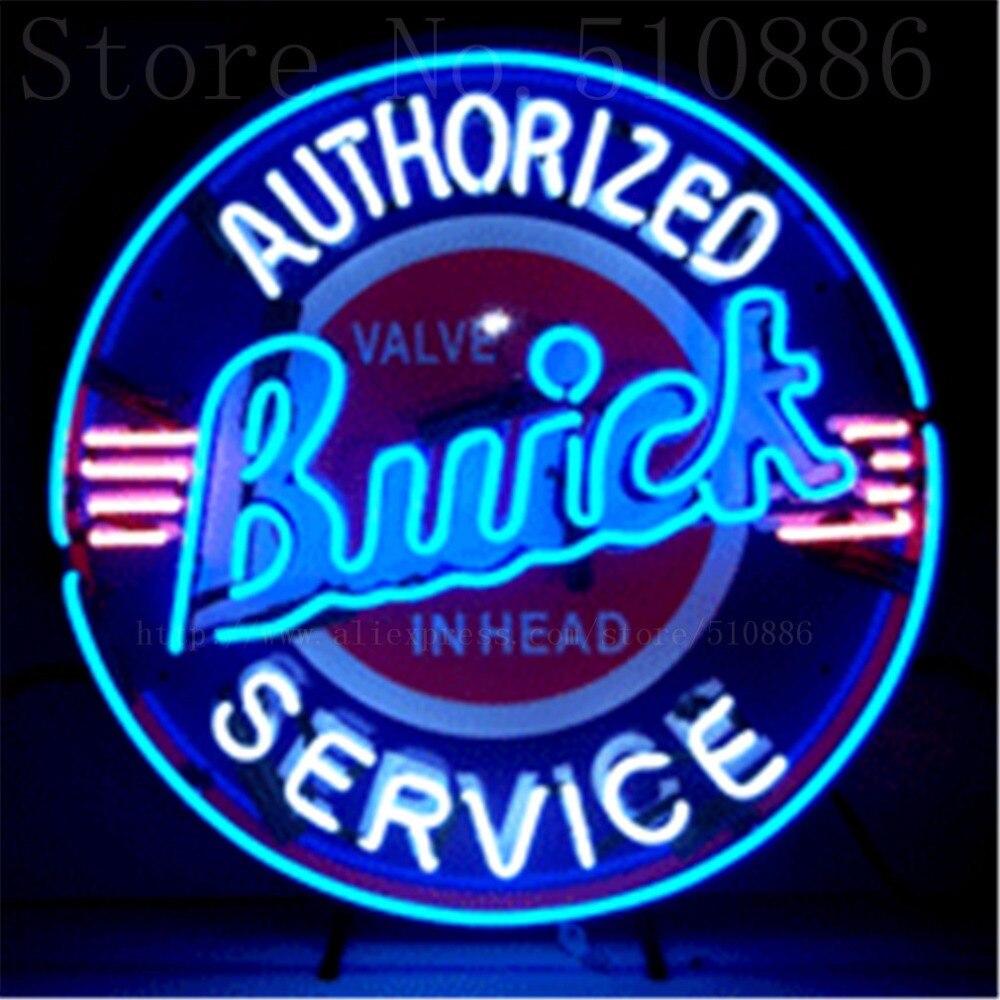 Buick с шелкографию поддержку реального Стекло трубка автомобилей Неоновая вывеска ручной работы автомобильные знаки магазин Бизнес вывески...