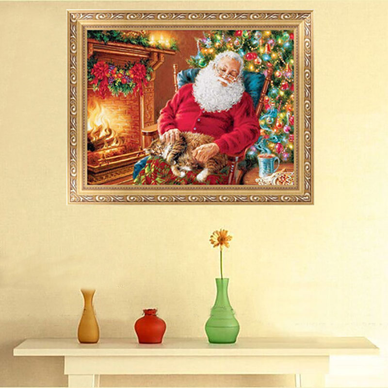 40*30cm Christmas Sleeping Santa Claus Beaded Embroidery DIY Kit 5D Diamond Painting Needlework Dmbroidery Elf On The Shelf