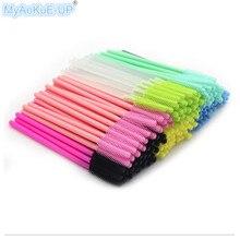 Tek kullanımlık tek kullanımlık yeni stil maskara fırçaları aplikatör silikon kafa kirpik fırçası paketi havlu şekli 15 renkler 1000 adet
