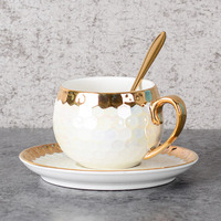 European Style Ceramic Flower Tea Cup Fashion Golden Porcelain Coffee Cups Saucers Sets Afternoon Tea Teacup Drinkware
