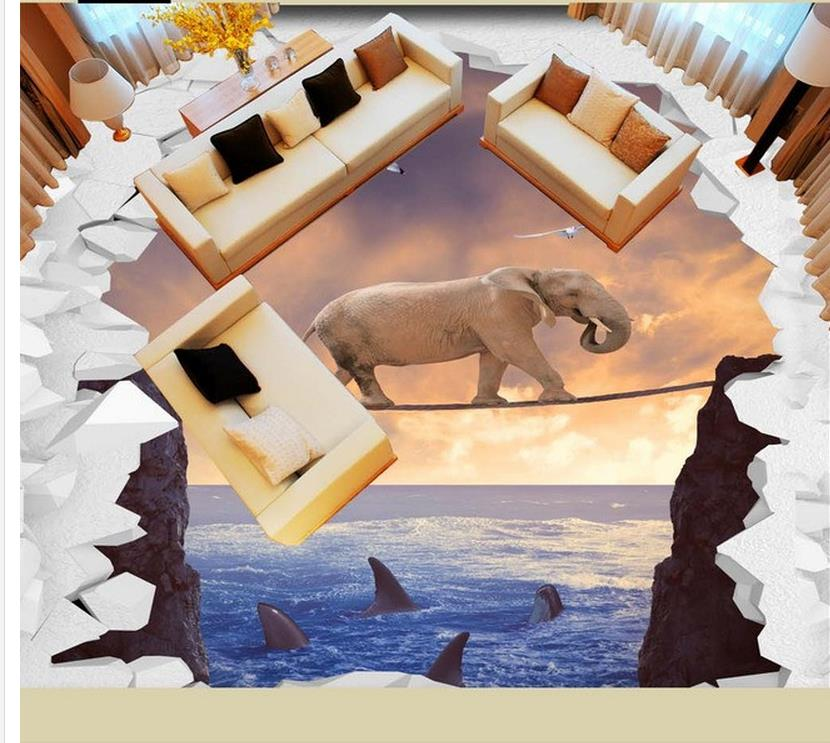 bathroom pvc wallpaper Elephant sea cliff outdoor 3d floor waterproof wall murals 3d wallpaper waterproof 2016 hot 4pcs natural bamboo handle makeup brushes set cosmetics tools kit powder eyeshadow blush brushes with bag