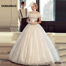 Romantic A Line Lace Wedding Dresses With Jacket Shawl Designer Gowns vestido de noiva DG0062