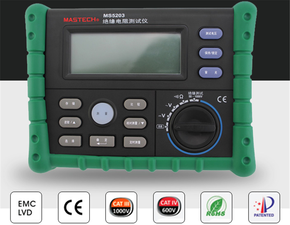 MASTECH MS5203 High Precision Megger Digital Insulation Resistance Meter Tester Multimeter 10G 1000V Medidor De Aterramento цена